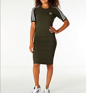 Olive Green Women's Adidas 3 Striped Dress